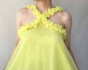 60s yellow chiffon trapeze nightdress or sundress with ruffles / M / L