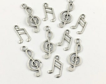 10 antique silver music note charms,16mm to 23mm # CH 301