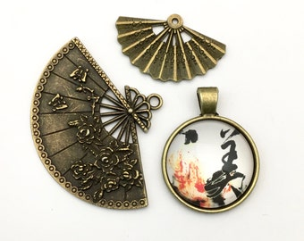 3 geisha and fans charms and pendant collection bronze tone,20mm to 40mm # ENS B277