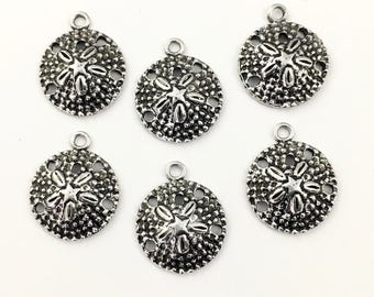 6 dollar sand charm antique silver 19mm #CH 253