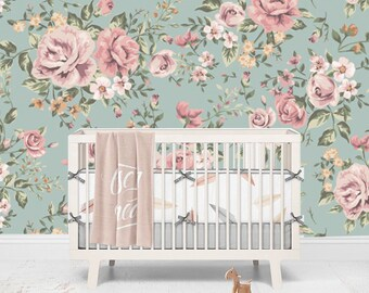 Vintage Floral Wallpaper -  Flowers Self Adhesive Fabric Wallpaper -  Removable, Repositionable, Reusable. R0040