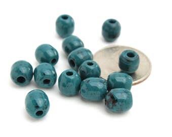Barrel Shaped Vintage Teal High Gloss Beads 9x10mm 5pcs