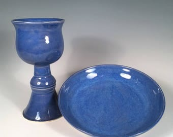 goblet and plate, chalice and paten, blue pottery, hand-made ceramics, gloss blue glaze, wine goblet, gift for ordination, table ware