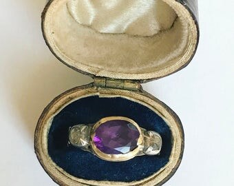 Georgian Amethyst and Diamond Ring, size 5.5