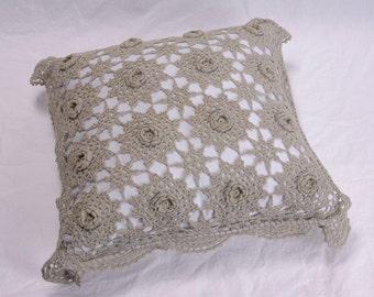 Vintage Crochet Green Pillow Celedon Celery Green Toss Throw Accent Handmade Crochet Decorative Pillow