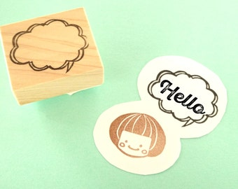 Speech bubble rubber stamp, Kawaii stationery