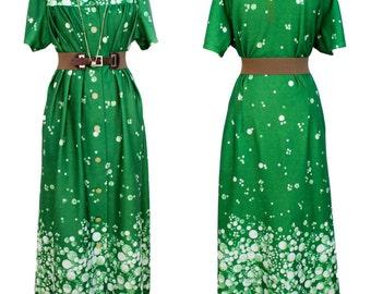 Vintage 1970s Hunter green bubble print robe dress | 70s dress | Maxie dress | Boho Dress