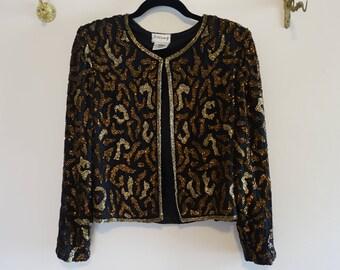 Vintage Stenay Leopard Print Beaded Jacket Blazer