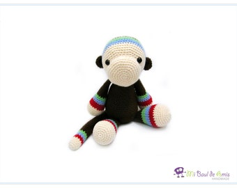 Crochet Monkey Amigurumi - Brown Monkey Doll - Jungle Animal Stuffed Doll Toy - Animal Plushie- READY TO SHIP