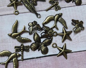 Antique Brass Whimsical Stamped Charms Jewelry Making & Craft Supplies