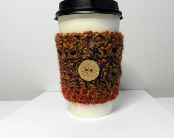 Coffee Cup Sleeve Cozy Take Out Coffee Cup Sleeve Cozy Crocheted Coffee Cup Sleeve Cozy Brown Coffee Cup Sleeve Cozy Crocheted Take Out Cozy