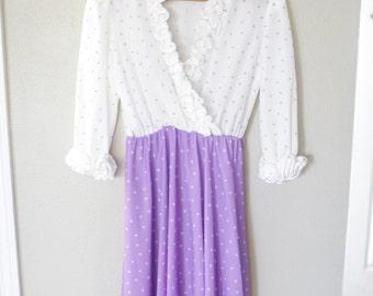 vintage purple & white polka dot ruffled secretary dress *