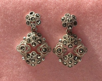 Fancy Sterling Silver Marcasite Earrings - Elegant Stud/Post Marcasite Earrings