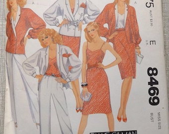 Diane Gilman for Cabal Misses' Jacket, Skirt, Camisole, and Pants Size 10 Complete Uncut/FF Vintage 80s McCall's Sewing Pattern 8469