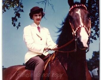 "Vintage 1950's ""retro"" Kodachrome Color Snapshot Photo ~ Horse Riding Attire"