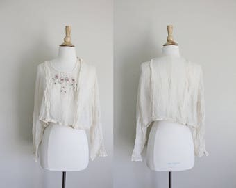 Edwardian Top | 1910s Blouse | Silk Chiffon Top | Embroidered Blouse | Small