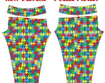 Puzzle Pieces Leggings, Autism Awareness, Autism Speaks, Custom, Spandex, Yoga Pants, Full Length, Games, Hobby, XS-XL - Puzzle Pieces 1