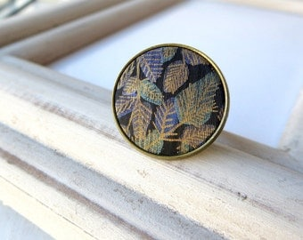 Maori fern vintage button ring