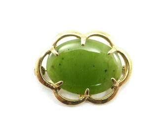 Vintage Jade Brooch, Scalloped Frame, Gold Tone