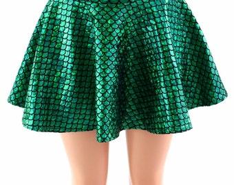 Green Round Scale Holographic Metallic Circle Cut Mermaid Mini Skirt Rave Clubwear EDM - 154078