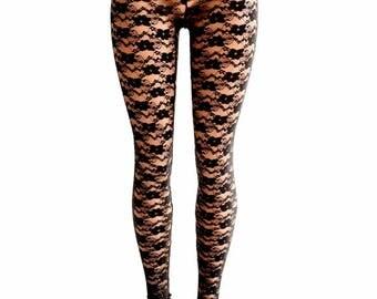 Black Lace Sheer See Through High Waist Leggings 154452