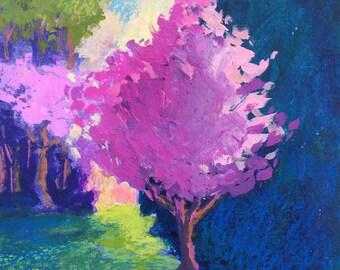 Landscape Painting, Redbud tree, green, pink, purple