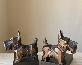 Wooden Scottie Dog Bookend - Scotty Dog, Scottish Terrier, Child's Room, Home Library, Vintage Home, Book Store, Cottage Chic,  WTH-1590
