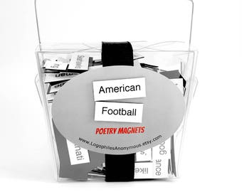 American Football Poetry Magnet Set - Refrigerator Poetry Magnets - Free Gift Wrap