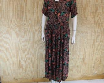 Vintage 1980's KAKTUS Crinkle Rayon Teal / Salmon Floral Hippie Palazzo Wide leg Jump Suit Jumpsuit Dress M