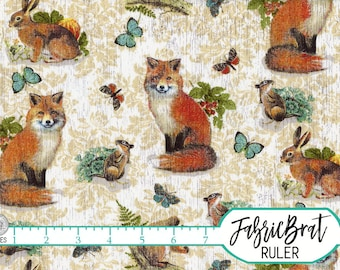 WOODLAND RED FOX Fabric by the Yard, Fat Quarter Rabbit Chipmunk Butterflies Fabric Forest Animals Apparel 100% Cotton Quilting Fabric t3-14