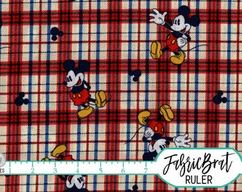 PLAID MICKEY MOUSE Fabric by the Yard, Fat Quarter Disney Fabric Red Mickey Fabric 100% Cotton Fabric Quilting Fabric Apparel Fabric t6-39