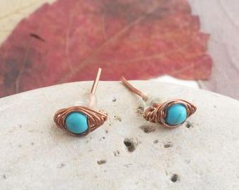 Turquoise studs - Turquoise earrings Turquoise jewelry Copper wire earrings Copper wire jewelry Stud earrings Turquoise stud earrings