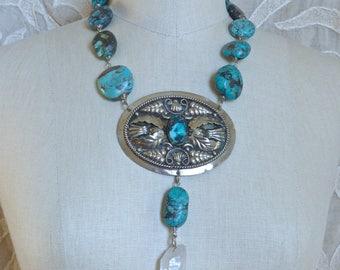 Turquoise and Quartz Medallion Necklace