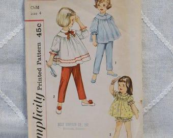 Vintage Simplicity 4016 Sewing Pattern Girls Two Piece Pajamas Size 4 Crafts  DIY Sewing Crafts PanchosPorch