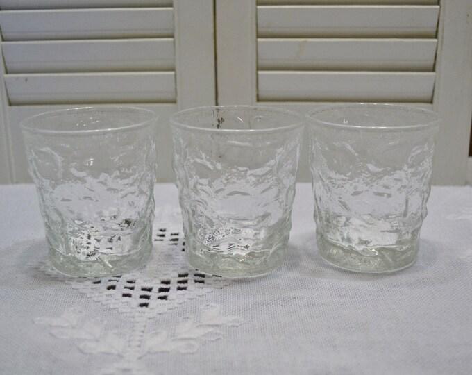 Vintage Lido Clear Glass Short Tumbler Set of 3 Cocktail Glass Anchor Hocking 8 oz PanchosPorch
