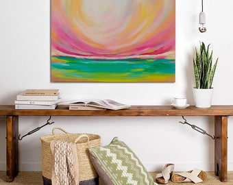 Abstract Landscape Painting, Original Abstract Wall Art, Panoramic Field Painting, Canvas Art, Yellow Pink Green Wall Art 24x30