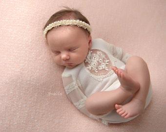 Newborn Girl Romper, Ivory, Lace; Newborn Romper Prop; Newborn Outfit Prop; Baby Girl Romper; Newborn Prop