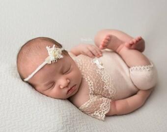 Newborn Girl Romper, Nude, Lace Romper, Newborn Outfit, Newborn Photo Prop, Baby Romper, Baby Prop, Newborn Props, Newborn Picture Prop