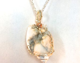 Shell Fossil Pendant, Drusy Necklace, Fossil Necklace, Wire Wrapped Fossil, Sea Creature, Shell Necklace, Natural Fossil Shell