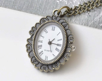 1 PC Oval Resin Flower Cameo Vintage Style Pocket Watch Pendant  A8720