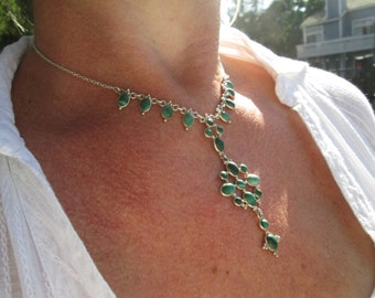 Vintage Malachite and Sterling Necklace