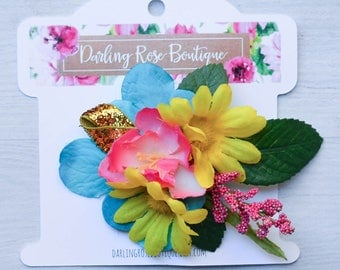 pink turquoise yellow and gold color silky rhinestone flower clip wedding flower girl spring ballet dance flower clip