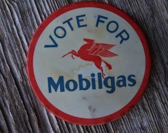 Rare Mobil Oil Vote for Mobilgas Patriotic Pegasus Pinback Celluloid Button