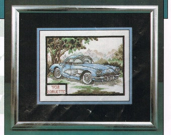 CROSS STITCH PATTERN - 1958 Corvette - Cars Of The Fifties Cross Stitch Patterns - Vintage Car Cross Stitch Chart