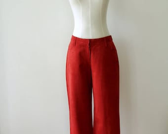 90s Red suede pants. Red leather pants. Dead stock suede trousers. Chinese trousers. Siren red trousers. 90s suede jeans