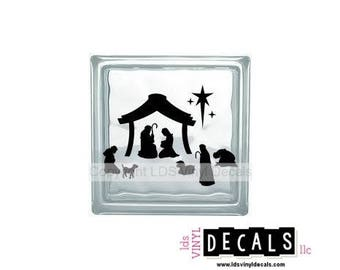 Full Nativity Scene - Christmas Vinyl Lettering for Glass Blocks - Craft Decals