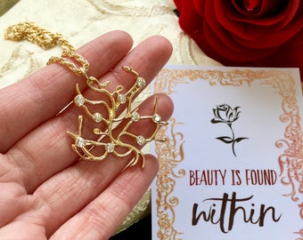 Rose Tree Branch The Beauty and the Beast Belle Necklace 16K Gold Replica Cubic Zirconia Elements