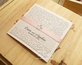 Wedding Invitations BEACH Pocketfolds. Destination Wedding Stationery.  Blush Pink Invitation SETS. Starfish Wedding