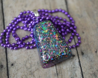Galatic Glitter Necklace, Glitter Pendant, OOAK Necklace, Fun Jewelry, Unique Jewelry, Resin Necklace, Resin Jewelry