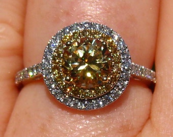 Yellow Sapphire Engagement Ring, Canary Round Sapphire in Double Diamond Halo Engagement Ring, Yellow Diamond Engagement Ring